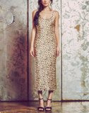 midi slip dress, bias cut, silky cheetah print satin, adjustable tie straps
