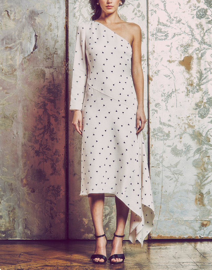 midi dress, one shoulder, bias cut, stretch gingko leaf polka dot jacquard, asymmetric side godet