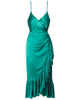 Mestiza New York Giulia Faux Wrap Spaghetti Strap Dress in emerald green silk.