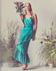 Mestiza New York Emerald Green Silk Satin Faux Wrap Dress with Spaghetti Straps