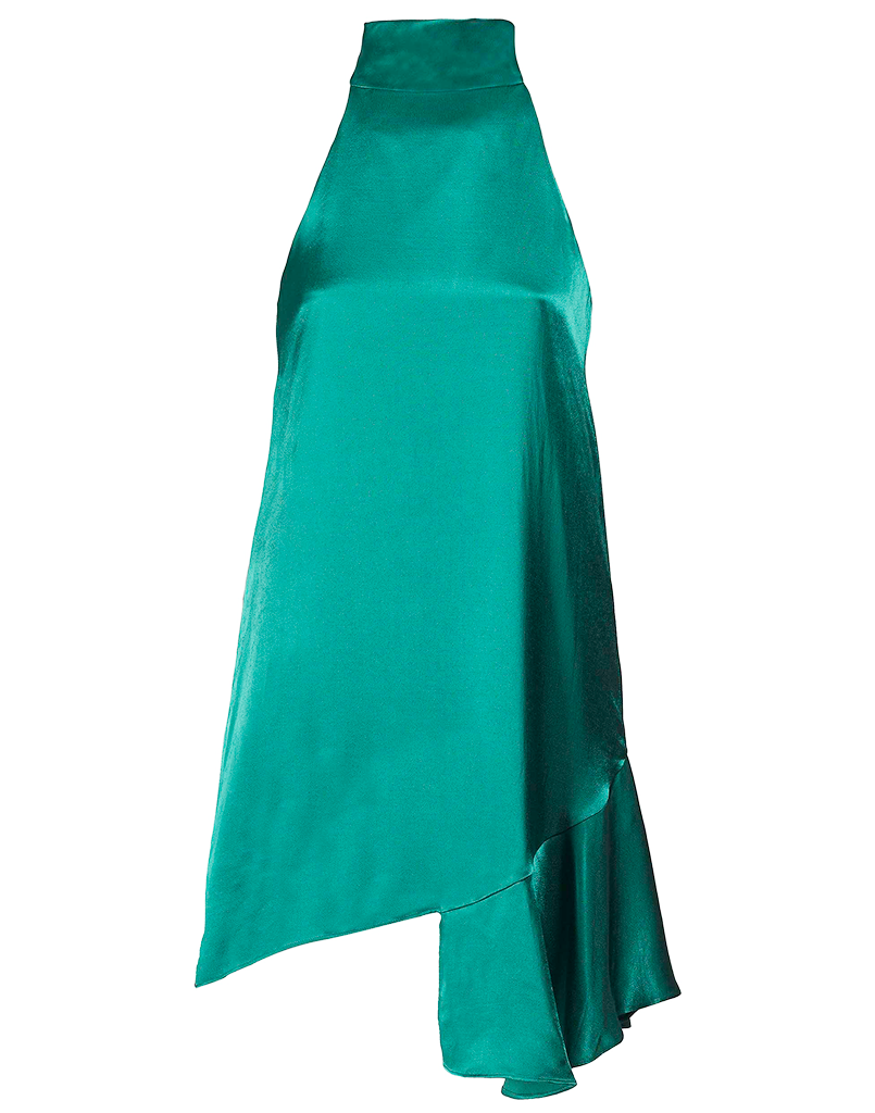 Mestiza New York Mock Neck Mini Dress in Emerald Green Silk with Little Flounce Skirt
