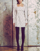 mini dress, long sleeve, empire waist, stretch gingko leaf polka dot jacquard, cuffed sleeves, puffed shoulders