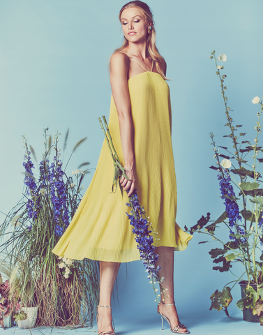 Mestiza New York Pleated Chiffon Lemon Yellow Dress with Criss Cross Straps