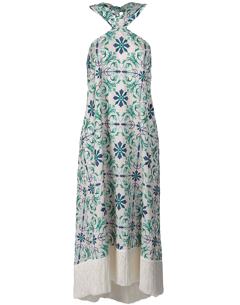 Mestiza New York Pamplona Tile Midi Dress with Green Embroidery on Pink Silk and Fringe at the Bottom Hem