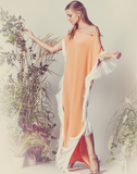 Mestiza New York Orange Sherbert White Fringe Caftan