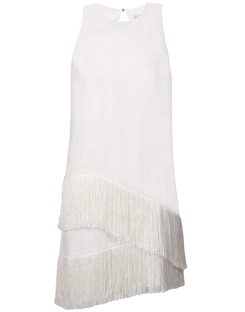 Scala Fringe Dress in White