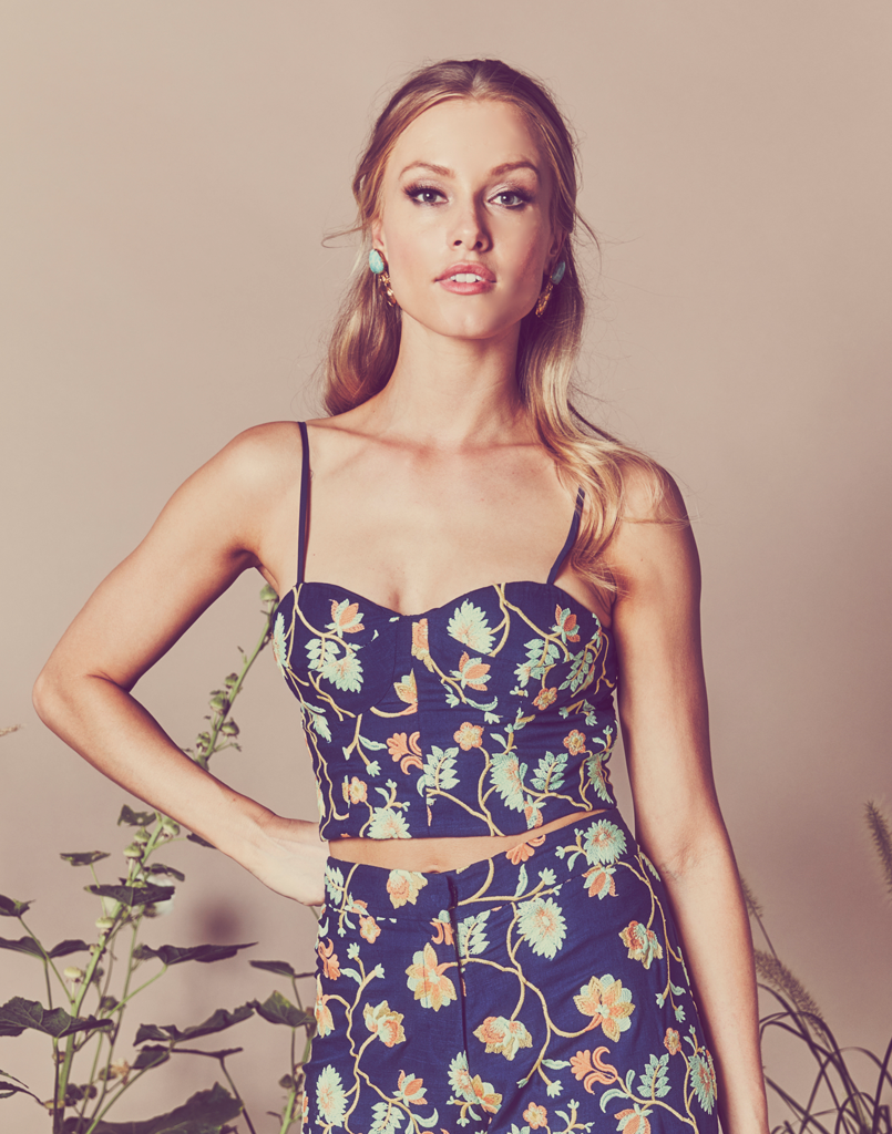 Mestiza New York Serenia Bustier Top in Navy Embroidered Floral Linen
