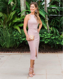 Basic B Stretch Midi in Blush