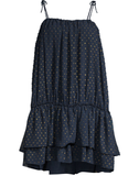 Amal Ruffle Metallic Dot Dress- Navy