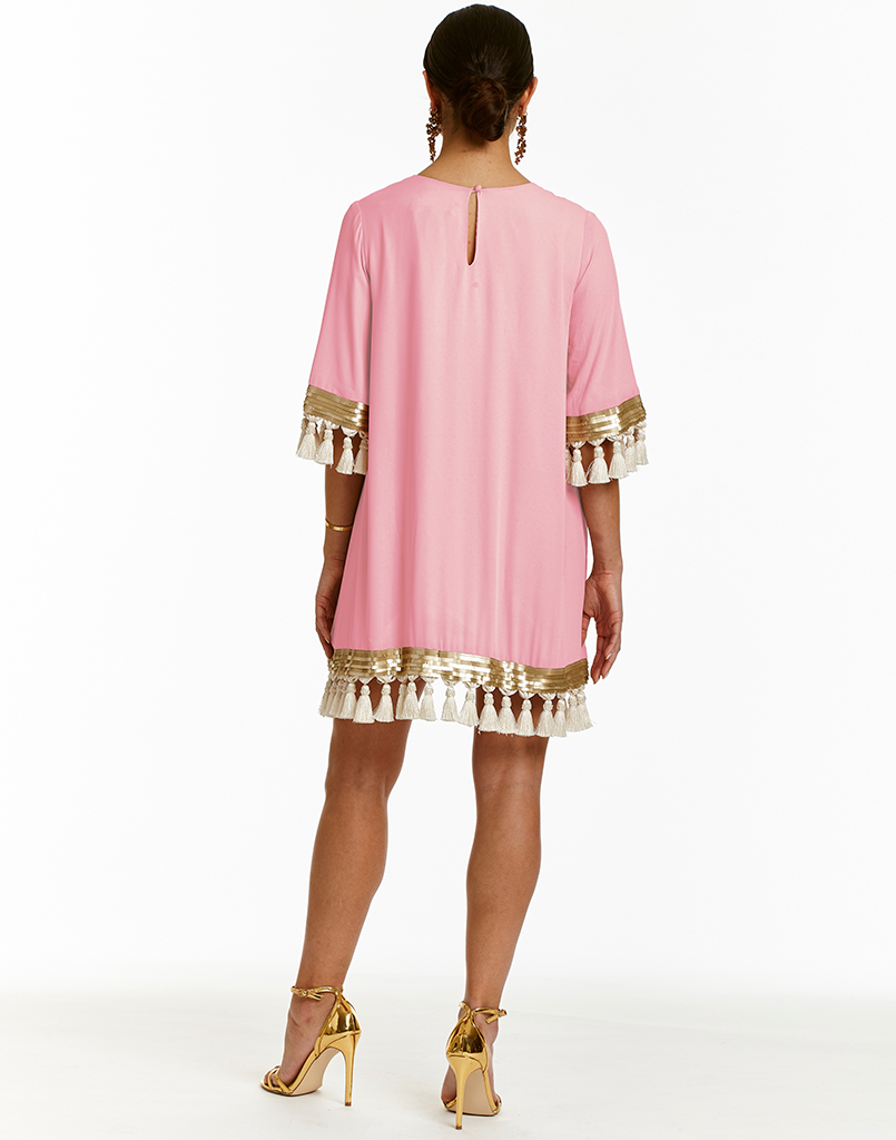 Pink Shimmy Shimmy Tassel Dress