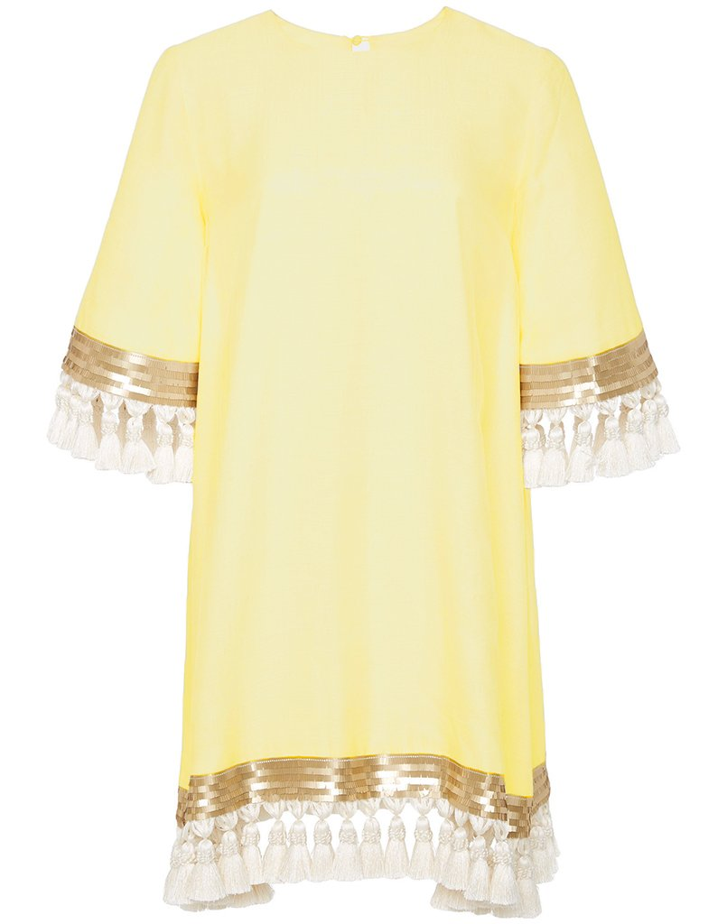 Shimmy Shimmy Tassel Dress Custom Canary Yellow