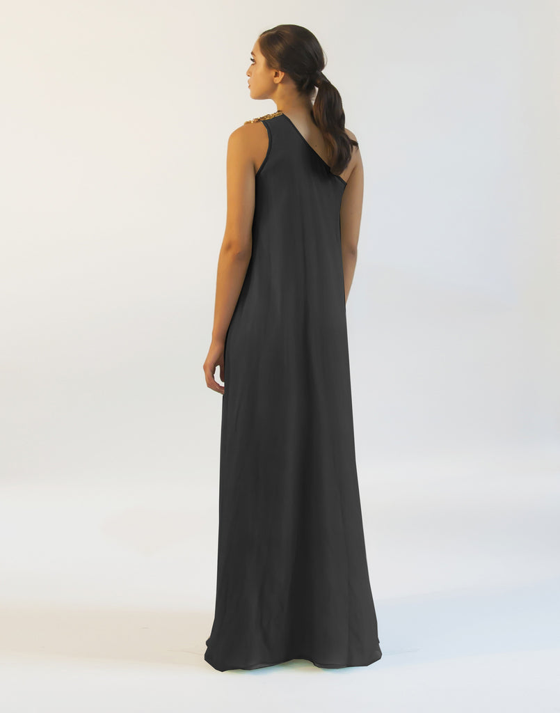 Bauhinia One Shoulder Black Gown