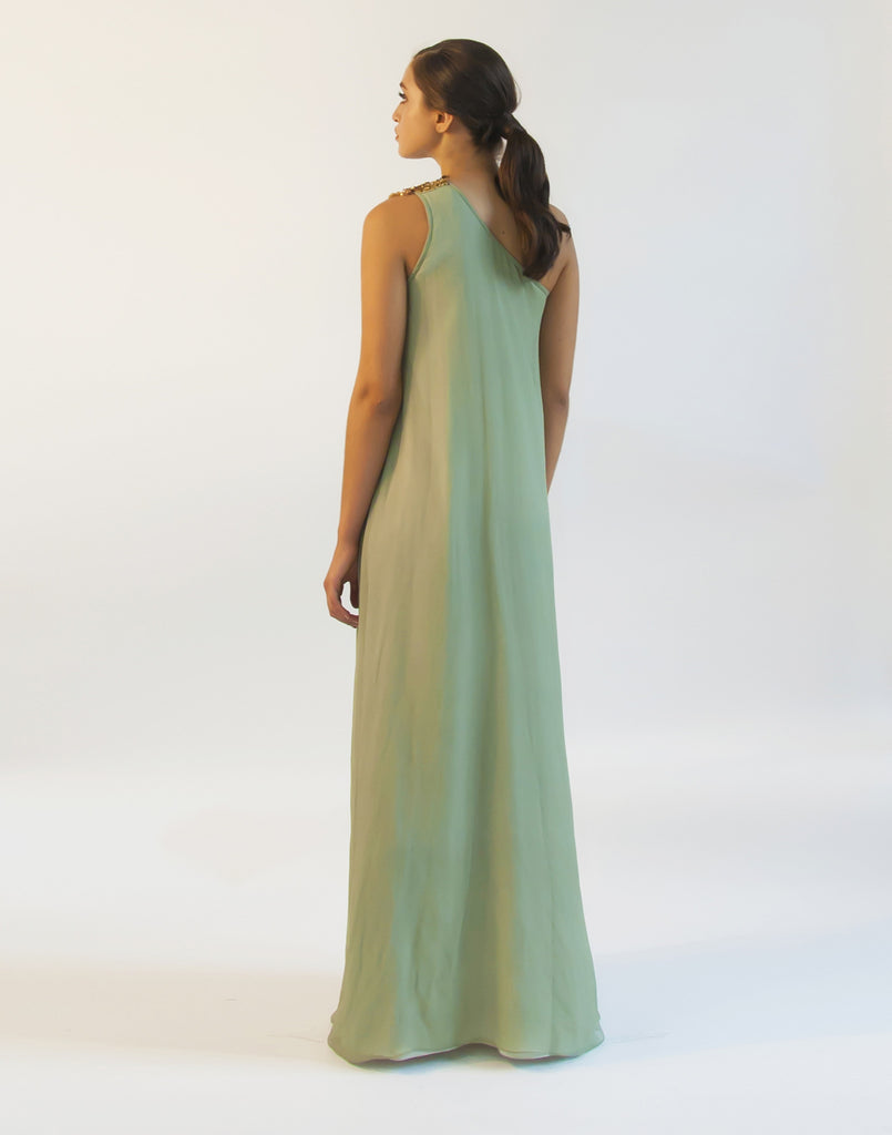 Bauhinia Sage Green One Shoulder Gown