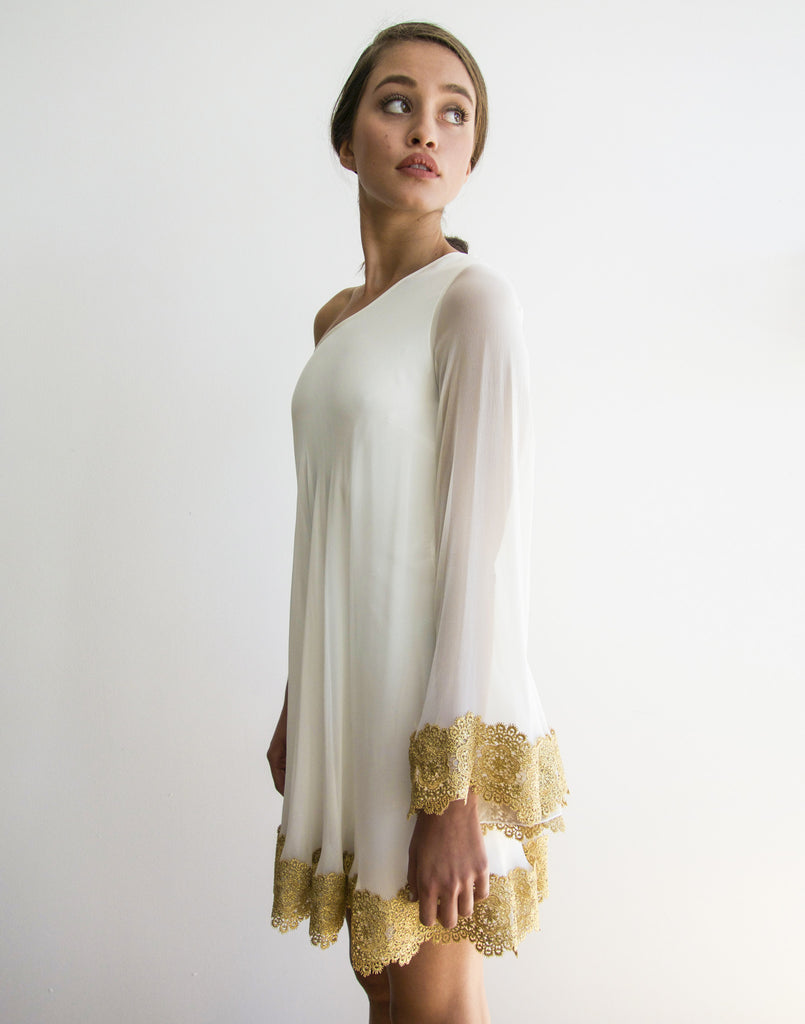 Mestiza New York Bauhinia One Shoulder Dress in White Ivory Silk Chiffon with Metallic Floral Gold Trim Stretch Body