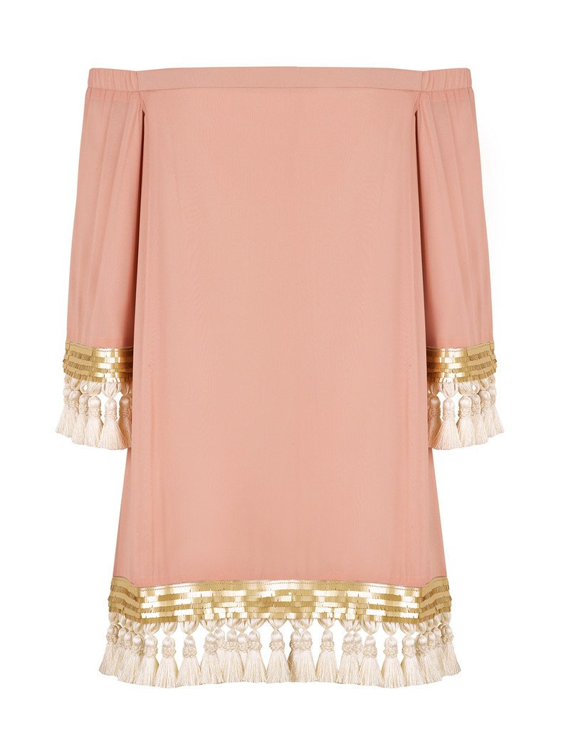 Franca Tassel Dress in Blush