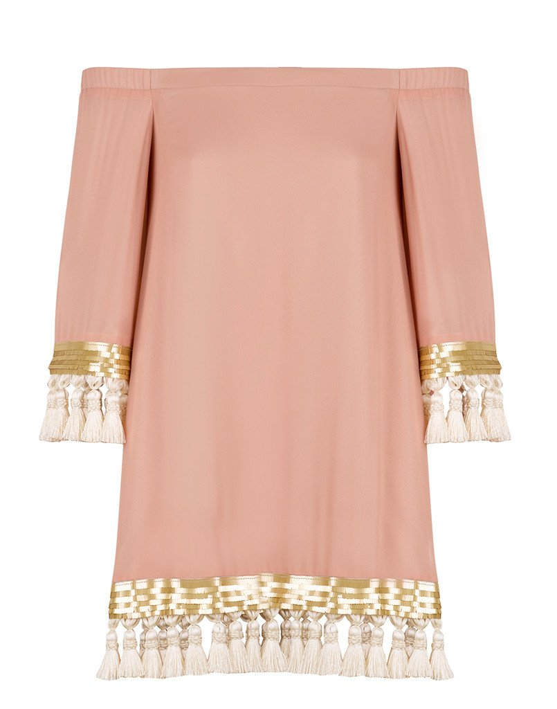 This blush long sleeved dress with tassel trim is perfect for any occasion - even a trip to Europe!