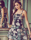 mini dress, notched neckline, princess seams, A-line skirt, chinoiserie organza jacquard, black, pink, green, metallic florals
