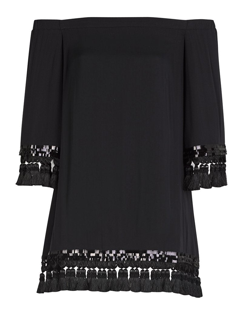 Perfect dress for any occasion, the black Cha Cha tassel dress with black tassels is sexy yet sophisticated, making it the most fabulous dress for young and old women alike.