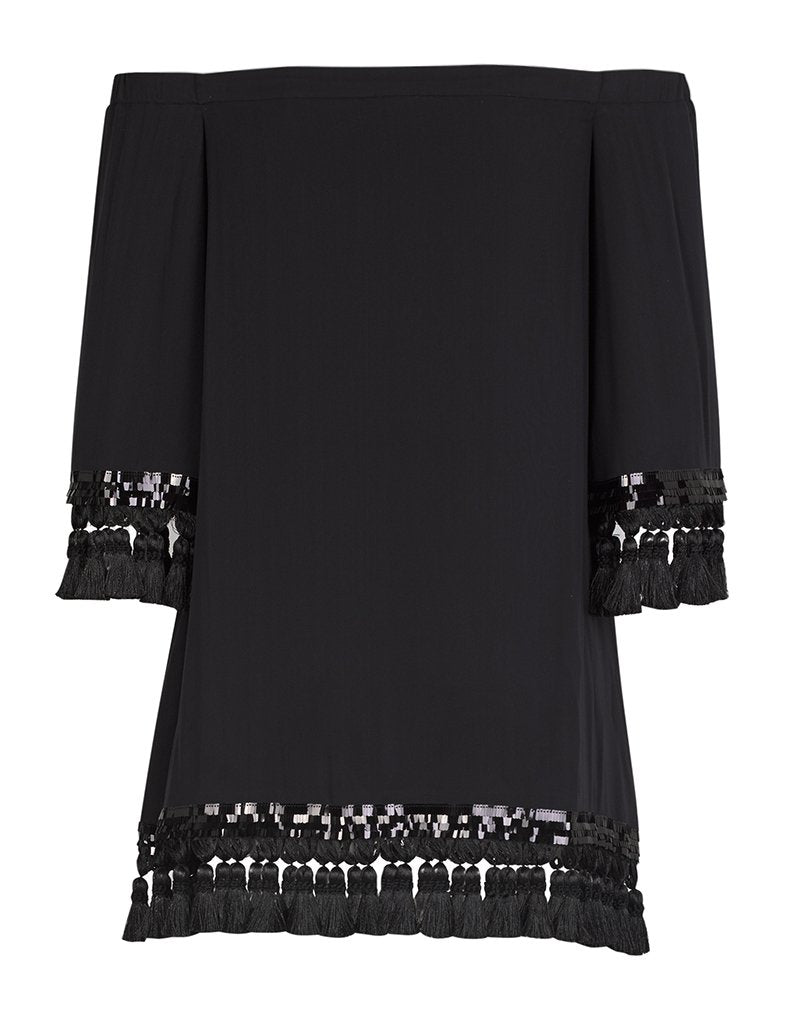 The back of the Cha Cha tasseld dress in black, showcasing the cold shoulder neckline and fun tassels!