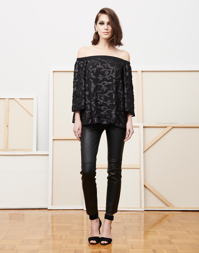 Cha Cha Cha Black Vine Sequin Top