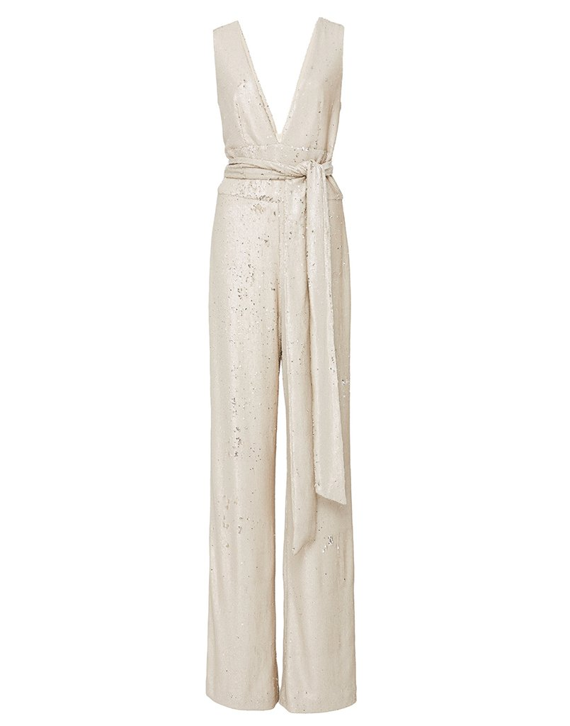 Front image of glamorous jumpsuit with stylish long belt