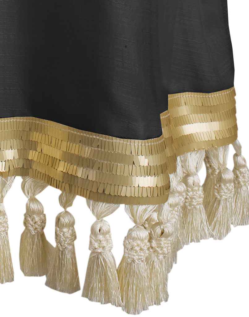 Franca Black and Gold Tassel Dress