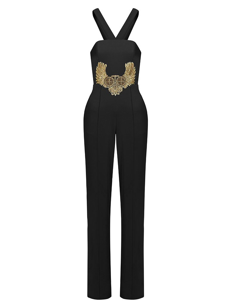 EAGLE TWIN STRAPPY RUNWAY JUMPSUIT IN BLACK