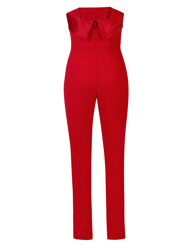 Elizabeth Persimmon Strapless Tuxedo Cropped Jumpsuit