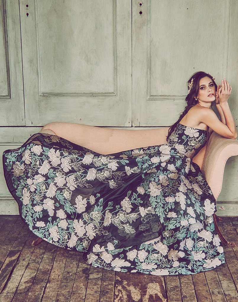 strapless gown, sits at natural waist, chinoiserie organza jacquard, black, pink, green, metallic florals, asymmetric skirt overlay