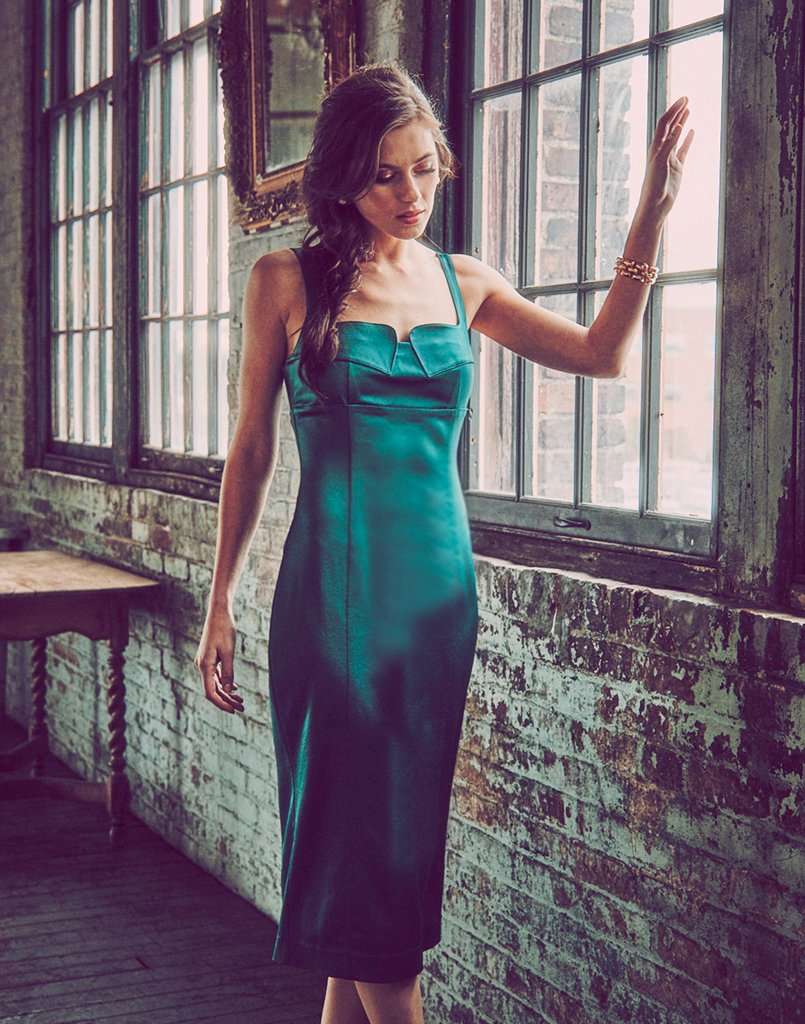 midi dress, emerald green satin back crepe, fully lined, notched neckline, slit in the back