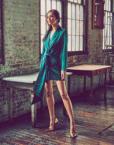 tuxedo jacket mini dress, emerald green satin back crepe, shawl collar, bow detail, wrap closure, apron tie interior
