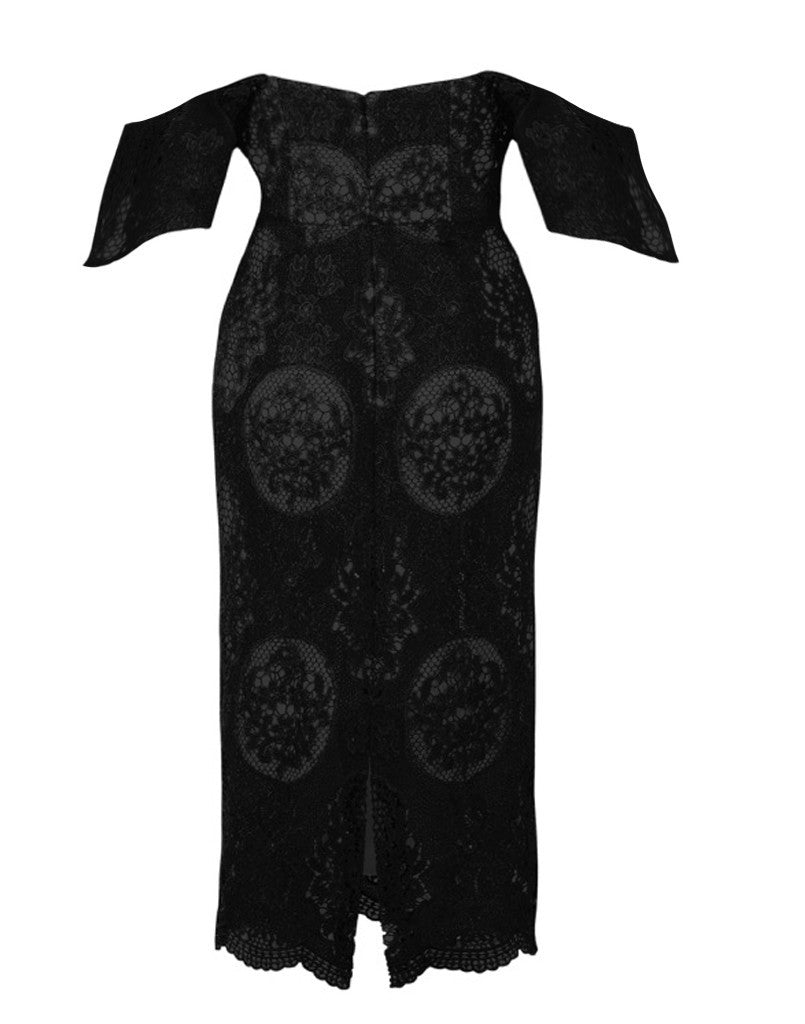 Hawley Baroque Lace Flutter Sleeve Dress in Black