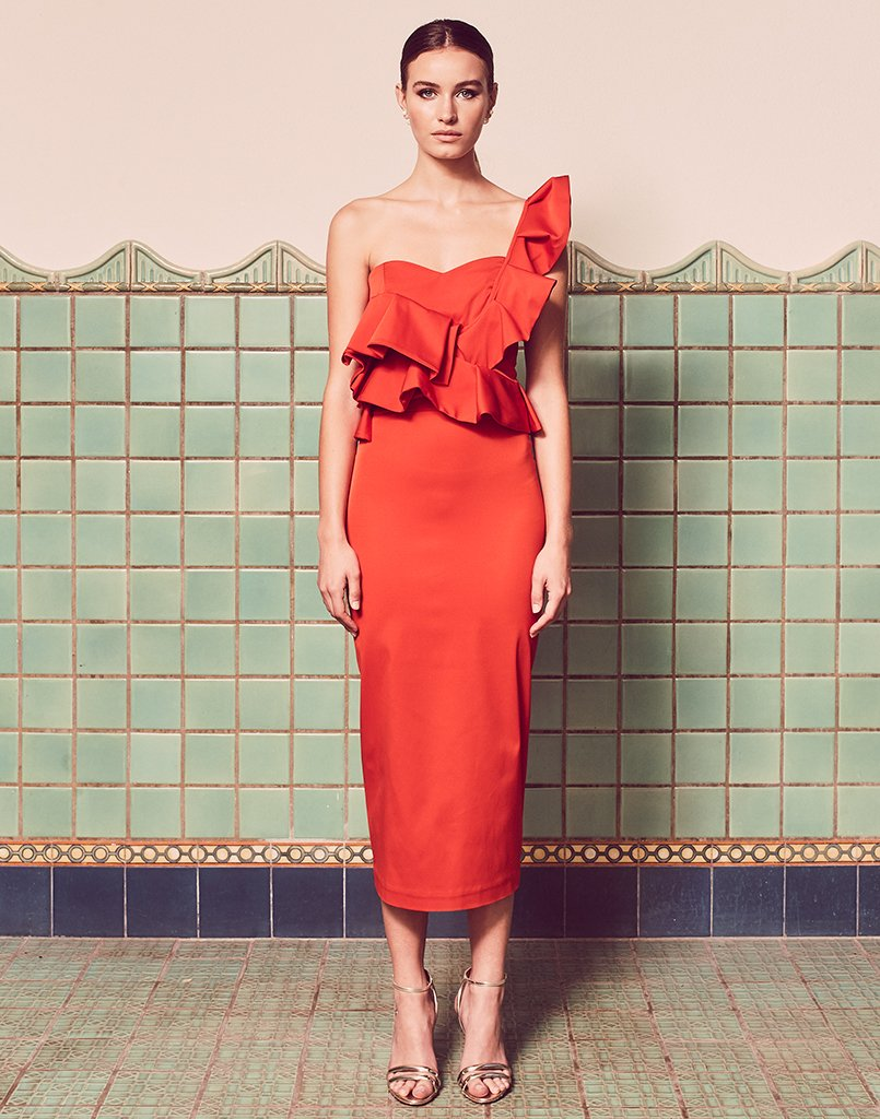 Katalina One Shoulder Ruffle Midi