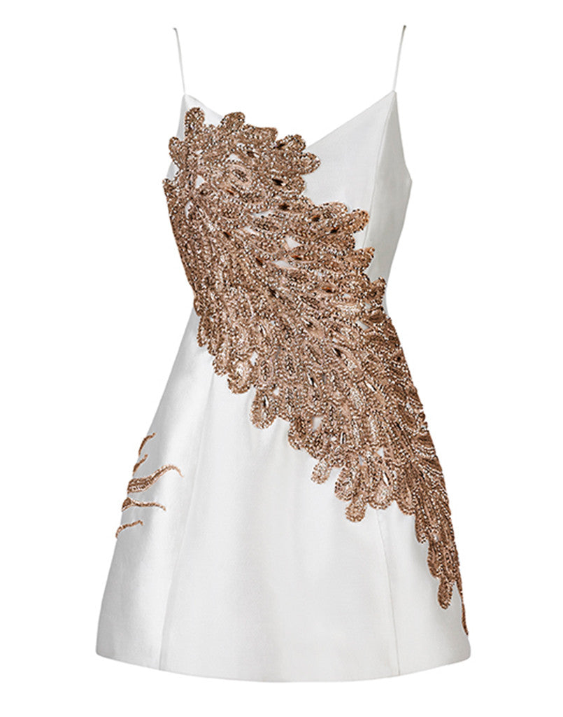 Laura Bell Dress in Rose Gold and Pearl White Silk Wool