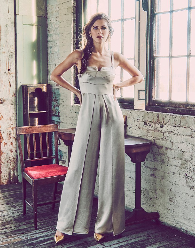 full-length wide leg jumpsuit, champagne satin back crepe, notched neckline, leg panels