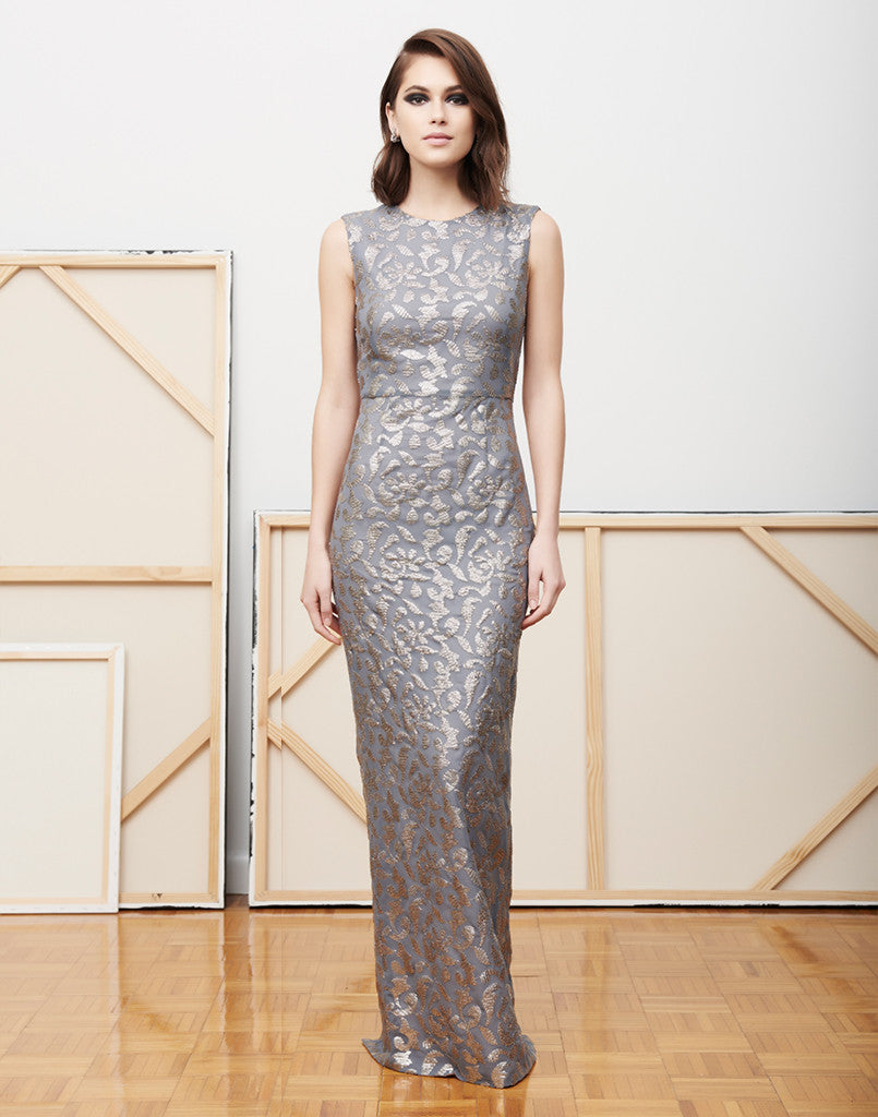 Maria Luisa Silver Sequin Gown - SAMPLE