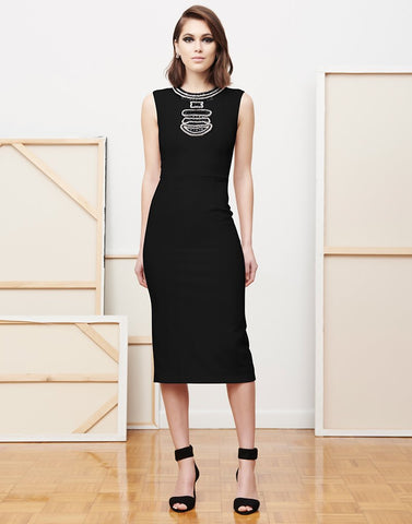 MARIA LUISA YOKE KNEE LENGTH DRESS