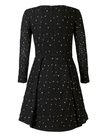 Milana Embroidered and Metallic Polka-Dot Tulip Dress