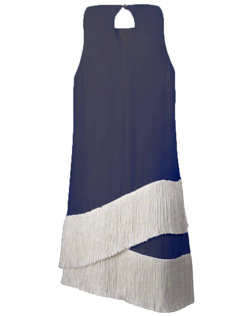 Scala Fringe Dress Navy
