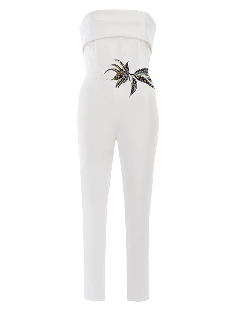 Birds of Paradise Strapless Stretch Jumpsuit