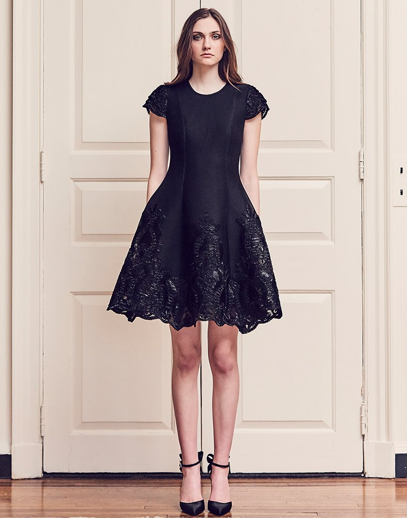 RIBBON EMBROIDERED FIT & FLARE DRESS IN BLACK