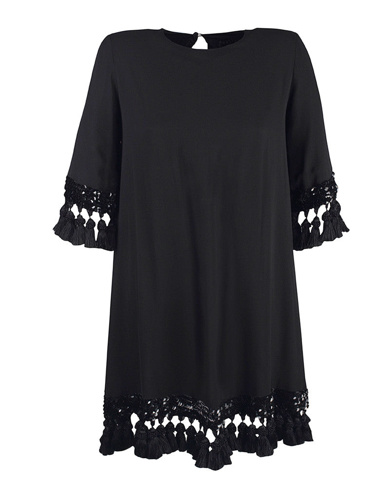 SAMPLE - Shimmy Shimmy Black Tassel Cocktail Dress