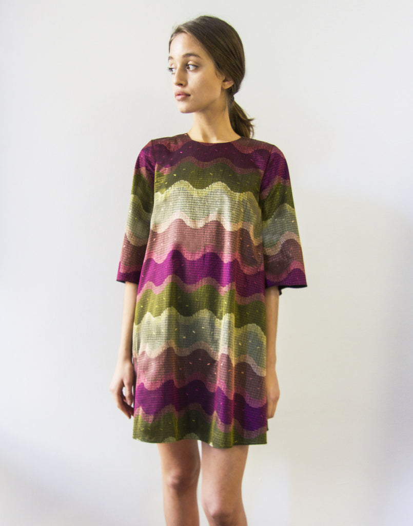 Mestiza New York Shimmy Shimmy Cocktail or Casual Dress Fully Embroidered Fabric From Italy Butterfly Sleeves Jewel Tones Swirl Print Purple Pink Green