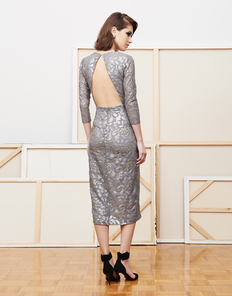 Ta-Da Silver Vine Sequin Midi Dress
