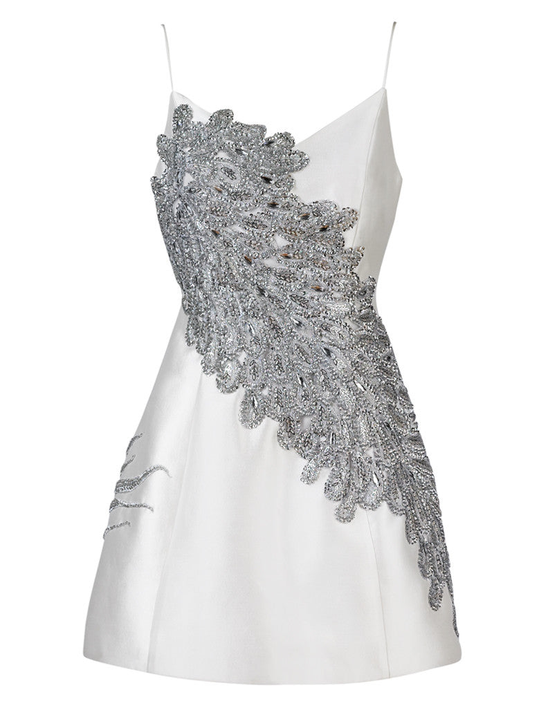 Laura Bell Dress in Silver and Pearl White Silk Wool