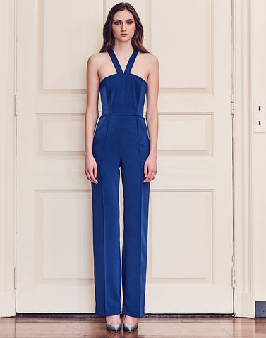 STRAPPY RUNWAY JUMPSUIT IN BLUEBERRY - EXCLUSIVE