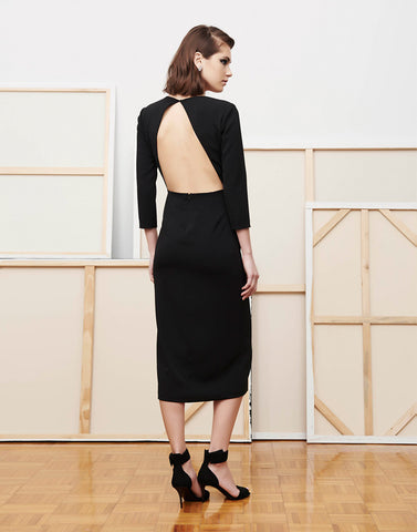 Ta-Da Backless Bird of Paradise Midi Dress