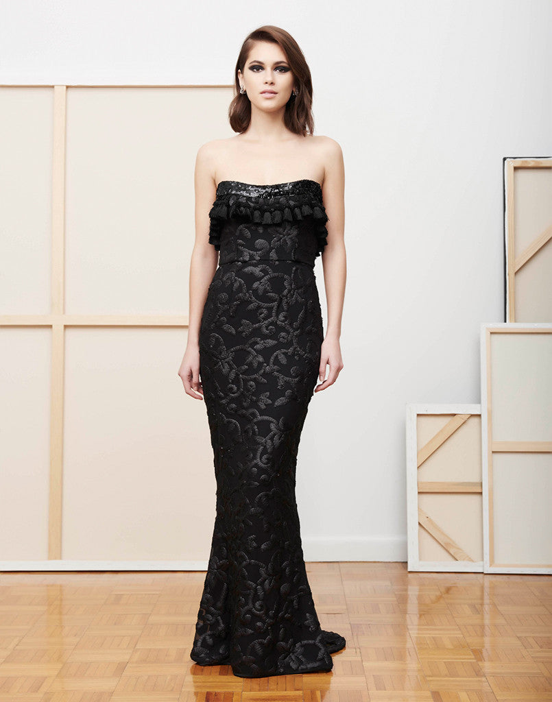 SAMPLE - Daniela Black Vine Sequin and Tassel Trumpet Gown
