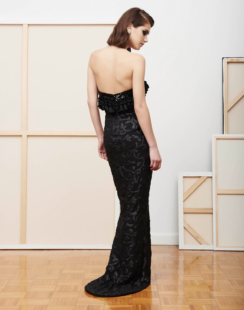 7d13b232 Black Vine Sequin and Tassel Trumpet Evening Gown – MESTIZA NEW YORK