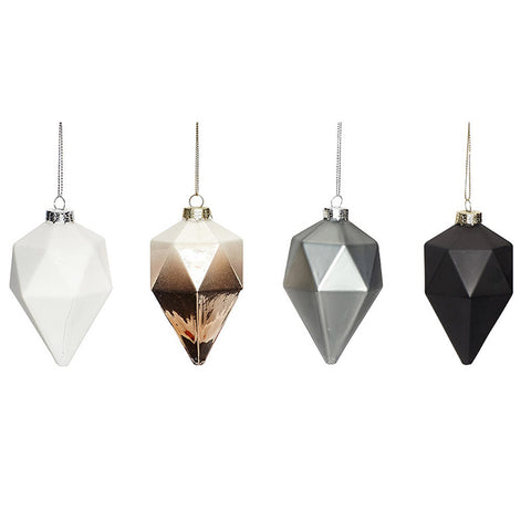 Diamond Christmas Ornaments - Set of 4 - by Hubsch - Made Modern